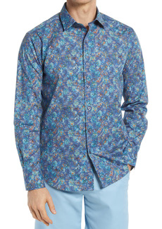 Bugatchi Shaped Fit Floral Stretch Button-Up Shirt