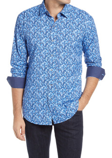 Bugatchi Shaped Fit Print Performance Button-Up Shirt