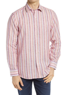 Bugatchi Shaped Fit Stripe Linen Button-Up Shirt