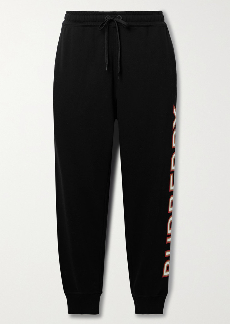 Burberry Appliquéd Cotton-jersey Track Pants