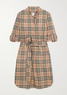 Burberry Net Sustain Belted Checked Cotton-blend Poplin Mini Dress