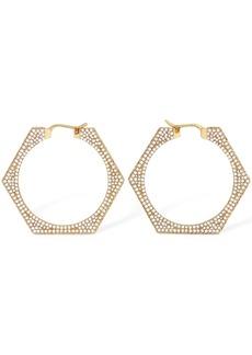 Burberry Bolt Crystal Hexagonal Hoops Earrings