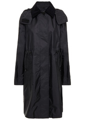 Burberry Woman Corduroy-trimmed Shell Trench Coat Black