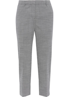 Burberry Woman Cropped Houndstooth Wool-blend Tapered Pants Black