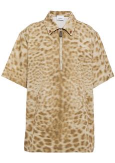 Burberry Woman Embellished Leopard-print Cotton Shirt Beige