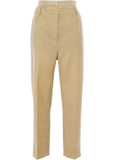 Burberry Woman Gabardine-paneled Mohair And Wool-blend Tapered Pants Sand