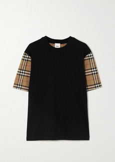 Burberry Net Sustain Checked Poplin And Cotton-jersey T-shirt