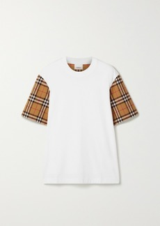 Burberry Net Sustain Checked Poplin-trimmed Cotton-jersey T-shirt