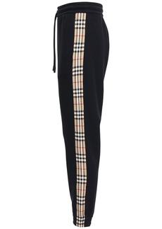 Burberry Cotton Jersey Sweatpants W/ Check Detail