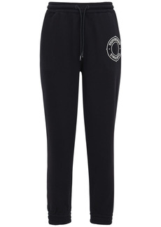 Burberry Embroidered Cotton Jersey Sweatpants
