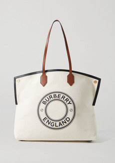 Burberry Large Leather-trimmed Printed Canvas Tote