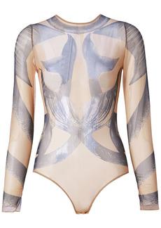 Burberry Mermaid Print Mesh Bodysuit