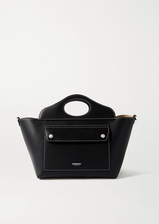 Burberry Mini Topstitched Leather Tote
