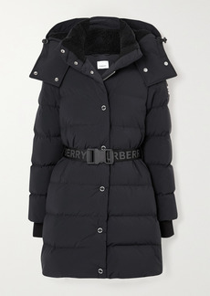 Burberry Net Sustain Belted Hooded Quilted Shell Down Coat