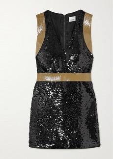 Burberry Oana Tape-trimmed Sequined Crepe Mini Dress