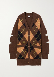 Burberry Oversized Cutout Argyle Wool And Cashmere-blend Cardigan