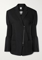 Burberry Paneled Ramie-blend Twill And Stretch-knit Blazer