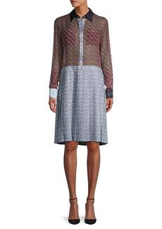 Burberry Silk Chiffon Monogram Shirtdress