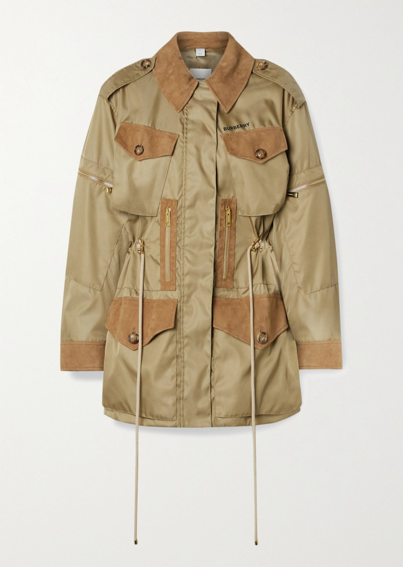 Burberry Space For Giants Suede-trimmed Nylon Jacket