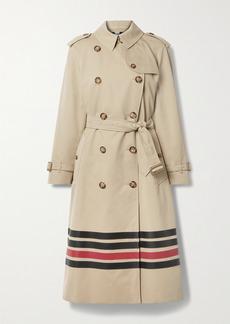 Burberry Striped Cotton-gabardine Trench Coat