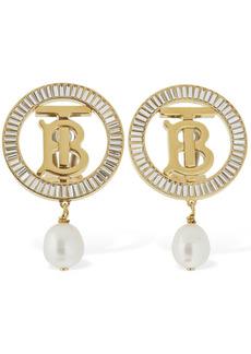 Burberry Tb Logo Baguette Pearl Clip-on Earrings