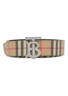 Burberry TB Reversible Leather & Vintage Check Belt