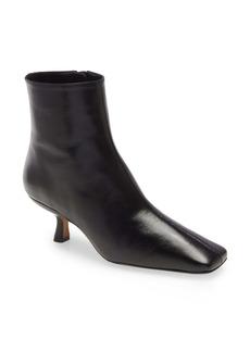 By Far Lange Square Toe Kitten Heel Leather Bootie (Women)