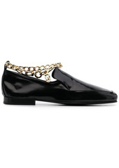 BY FAR Shiny Leather Loafers With Chain Detail