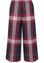 By Malene Birger Woman Ilan Checked Cotton And Linen-blend Culottes Navy