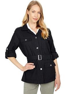 Calvin Klein Button Front Jacket w/ Belt