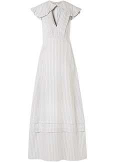 Calvin Klein 205w39nyc Woman Cape-effect Striped Silk And Cotton-blend Maxi Dress White