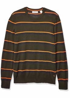 Calvin Klein Mens Merino Sweater Crew Neck kale Stripe