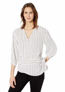 Calvin Klein Women's 3/4 Sleeve Wrap Top with Belt
