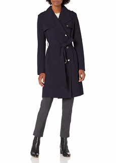 Calvin Klein Womens Belted Double Weave Trench NVY S