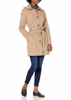 Calvin Klein Womens Button Front Trench Coat with Belt KHK L