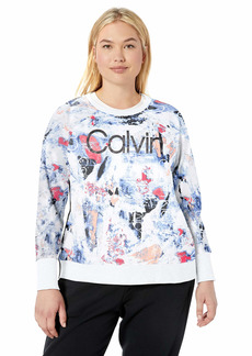 Calvin Klein Women's Plus Size Crew Neck Pullover with Track Stripe and Foil Logo