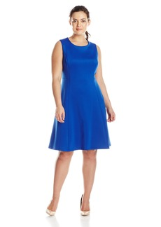 Calvin Klein Women's Plus-Size Fit and Flare Dress with Pleat