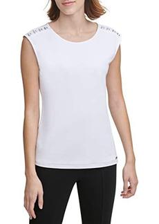 Calvin Klein Cap Sleeve Top with Shoulder Detail