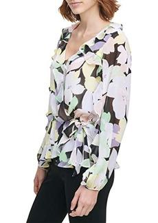 Calvin Klein Faux Wrap Blouse with Ruffle Sleeve