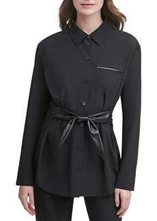 Calvin Klein Long Jacket w/ PU Tie Belt