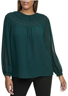 Calvin Klein Long Sleeve Blouse with Smocked Yoke