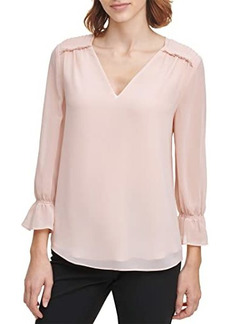 Calvin Klein Long Sleeve Blouse with V-Neck and Pleated Detail