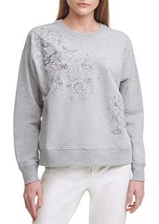 Calvin Klein Long Sleeve Floral Embossed Fashion Sweatshirt