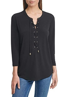 Calvin Klein Long Sleeve Top w/ Lace-Up Detail