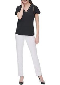 Calvin Klein Short Sleeve V-Neck Blouse