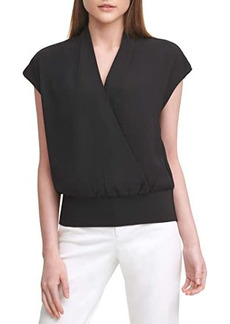 Calvin Klein Sleeveless Faux Wrap Top