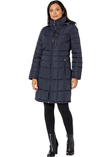 Calvin Klein Zip Front Mid Length Puffer Coat with Hood and Chest Zipper