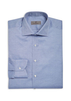 Canali Crosshatch Textured Solid Classic Fit Dress Shirt