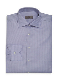 Canali Dotted Grid Pattern Regular Fit Dress Shirt