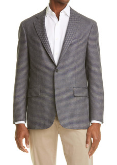Canali Kei Classic Fit Houndstooth Wool & Silk Sport Coat